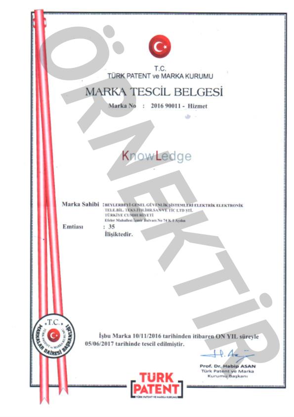 KnowLedge Marka Tescil Belgesi